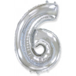 Цифры стандартные Воздушный шар (40''/102 см) Цифра, 6, Серебро, 1 шт.